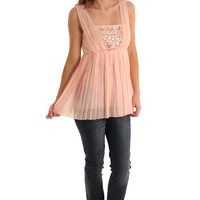 Pink Sheer Pleated Chiffon Jeweled Babydoll Top