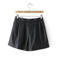 Elastic Cord Fashionable Middle-rise Leather Culotte,Cheap in Wendybox.com