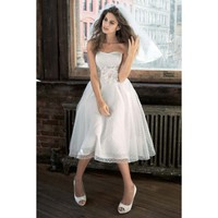 Gorgeous Strapless Knee Length A-line Organza Wedding Dress
