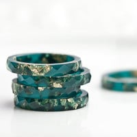 Teal Resin Stacking Ring Gold Flakes Thin Faceted Ring OOAK boho minimalist jewelry deep teal emerald petrol blue rusteam