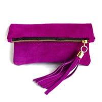 Mini Suede Clutch - royal pink | Miller and Jeeves