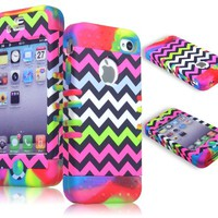 Bastex Hybrid Case for Apple Iphone 4, 4s - Colorful Bright Tie Dye Silicone with Hard Chevron Design Shell