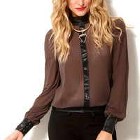 Pleather Accent Chiffon Blouse