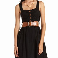 CROCHET BELT A-LINE DRESS