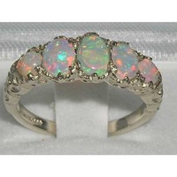 High Quality Solid 14K White Gold Natural Very Colorful Opal English Victorian Ring - Finger Sizes 5 to 12 Available - Perfect Gift for Birthday, Christmas, Valentines Day, Mothers Day, Mom, Grandmother, Daughter, Graduation, Bridesmaid.