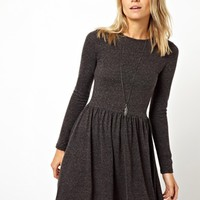 ASOS Skater Dress In Nepi With Long Sleeves