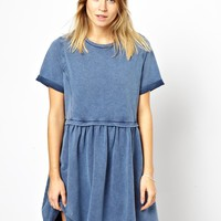 ASOS PETITE Smock Dress In Acid Wash