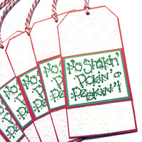 5 Jumbo Gift Tags - Embossed Christmas Tags - Strung Handmade Tags