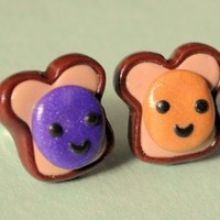 Handmade Miniature Peanut Butter and Jelly Stud Earrings