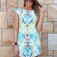 Green & White Print Cutout Mini Dress