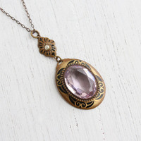 Antique Art Deco Brass Lavalier Necklace - Vintage 1920s 1930s Amethyst Purple Filigree Jewelry / Faux Rose De France Stone