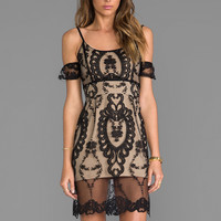 For Love & Lemons For Love & Lemons Vienna Off The Shoulder Lace Dress in Black