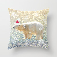 Polar Holiday Throw Pillow by Lisa Argyropoulos