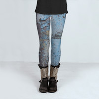 Weathered Blue Legging by JUSTART (Leggings)