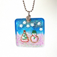 Christmas snowman pendant necklace - frosty, icy blue and white winter wonderland christmas pendant - glitter resin by Sparkle City Jewelry