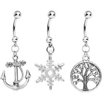 Nautical Seasons Dangle Belly Ring 3 Pack | Body Candy Body Jewelry