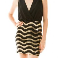 Black with Gold Sequin Waves Dress