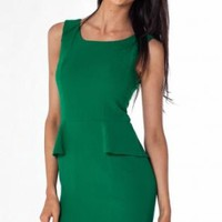 Emerald Green Peplum Bodycon Dress