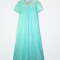 60s Nylon Gown Negligee Turquoise Aqua Long Silky Shadow Line 1960s Embroidered Retro NWT Small