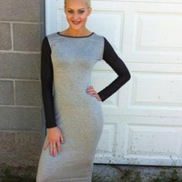 Leather Sleeve Gray Midi Dress