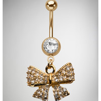 14 Gauge Goldtone Cubic Zirconia Bow Banana