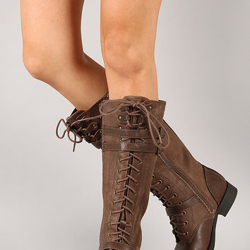 Soda Ahoy-S Buckle Lace Up Military Knee High Boot