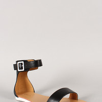 Qupid Grin-01 Open Toe Ankle Strap Flat Sandal