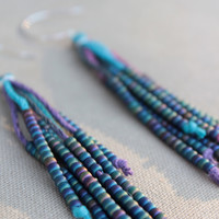 Vegan Feather Hemp Natural Earrings - Sterling Silver and Glass - Hippie Bohemian