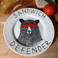Side Plate Hand Painted The Sandwich Defender Bear by jimbobart