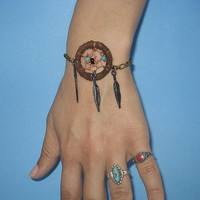 Dream Catcher Bracelet- Brown Feather Beaded Chain Leather Dreamcatcher