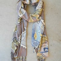 Taupe Wanderlust Scarf [4707] - $24.00 : Vintage Inspired Clothing & Affordable Dresses, deloom | Modern. Vintage. Crafted.