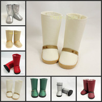 "18"" American Girl Doll Boots Cream Off White"