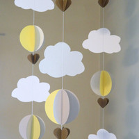 3D Paper Garland/Baby Shower Decor/Crib Mobile/Yellow and Gray Decor/ Clouds with Balloons/Hot Air Balloons/ Nursery Mobile/ Photo Prop