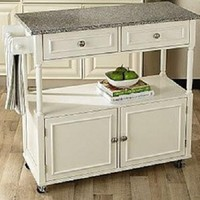 NEW Kitchen Island Wood Cart Rolling Granite Top Countertop Cabinet Storage