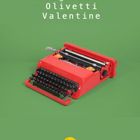 RESERVED /// Limited edition 1989 Olivetti Valentine Typewriter. Design Icon. Red. Mint condition in box. Ettore Sottsass. With case.