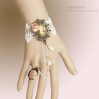 Queen Relief Flower Drop White Lace Adjustable Ring Bracelet Set Lolita Bridal