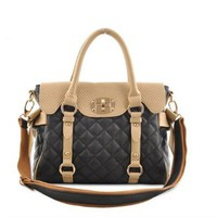 Bowknot Mixing Color Diamond Check Emboss Handbag Tote Shoulder Bag
