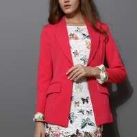 Hot Pink Contrast Cuff One Bottom Blazer
