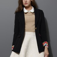 Black Contrast Cuff One Bottom Blazer