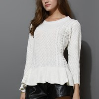 Frill Hem Knitted Top in Off-white