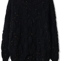 Candy Dots Knit Sweater with Scrolled Neckline in Black
