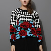 Red Rose Intarsia Contrast Pattern Sweater