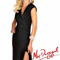 Triangular Cutout Back Gown by Mac Duggal Black White Red