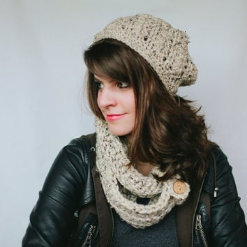 Sale on Gift Set Warm Me Up Infinity Cowl , Slouch Hat, and Boot Cuff Set with wood button adornments
