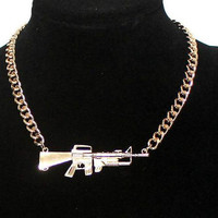 Gold Rifle Gun Weapon Pistol Gold Chunky Curb Chain Necklace, Bridesmaids Friendship Gifts, Graduation Birthday Trending Accessories