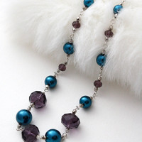Big and Bold Pearl Necklace Royal Blue, Purple, Sliver - Christmas Gift Idea