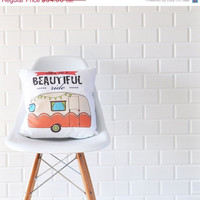 "Black Friday Sale Retro Caravan, Decorative Pillows, Kids Pillows, Throw Pillow, Cushion Cover, 16"" x 16"""