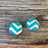 Button Earrings, Blue Chevron, Silver Chevron, Chevron Earrings, Chevron Fabric, Button Earrings, Post Earrings, Stocking Stuffer, Under 10