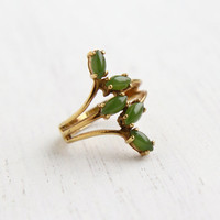 Vintage Green Stone Ring - Retro Size 7 18k H.G.E Signed Vargas Costume Jewelry / Stacked Marquise Jade