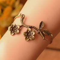 flower bracelet,Branch bracelet,best gift for her